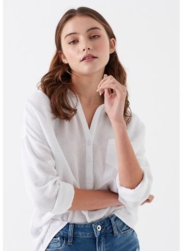 Mavi Cepli  Bluz Beyaz